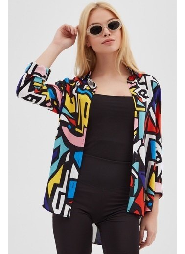 Pattaya Pattaya Kadın Grafik Desenli Uzun Kollu Viskon Gömlek P21S110-6373 Siyah